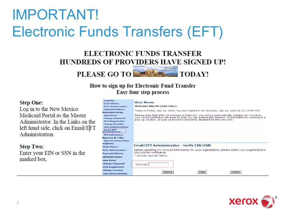 IMPORTANT! Electronic Funds Transfers (EFT)