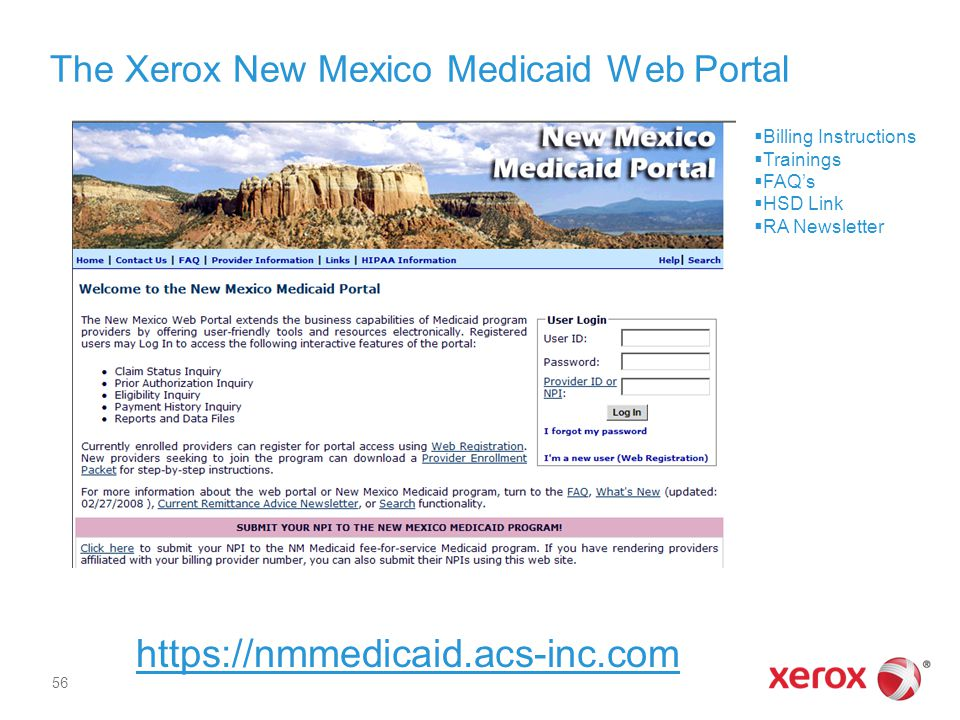 The Xerox New Mexico Medicaid Web Portal
