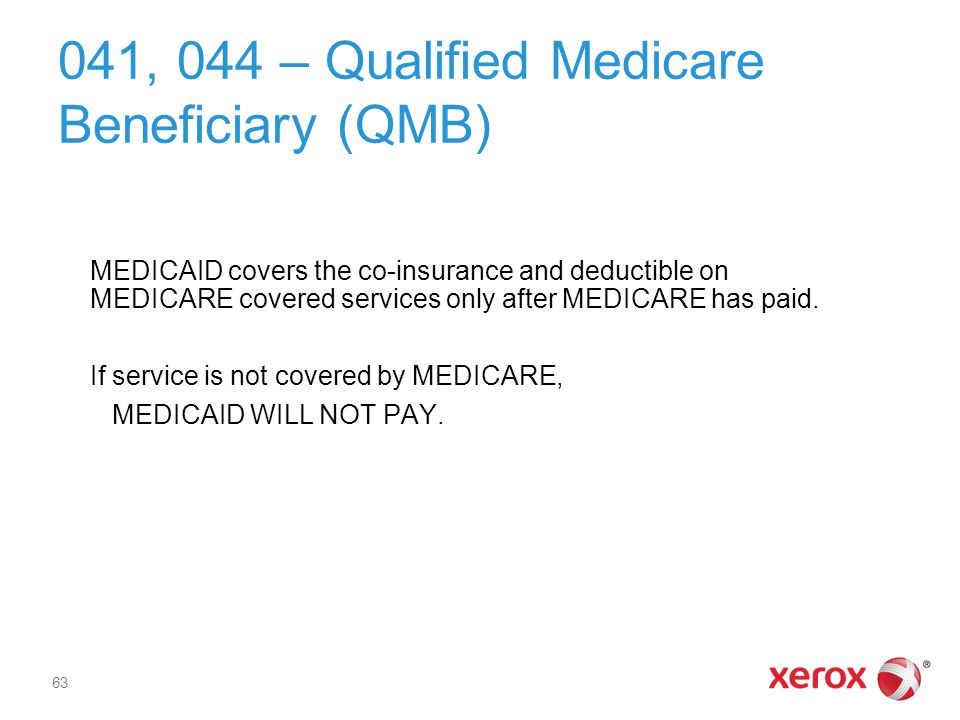 041, 044 – Qualified Medicare Beneficiary (QMB)