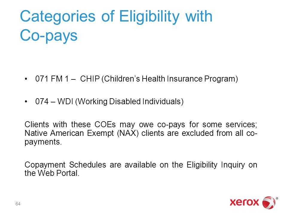 Categories of Eligibility with Co-pays
