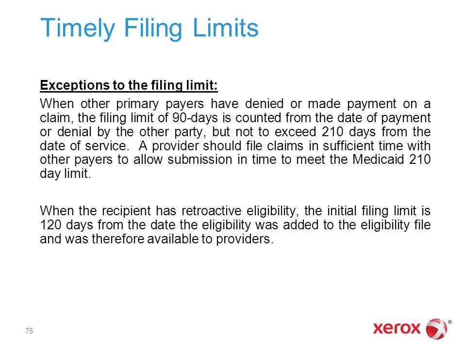 Timely Filing Limits