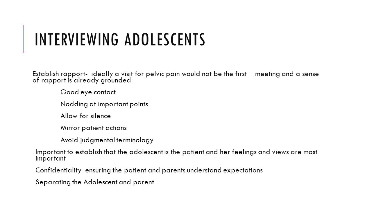 Interviewing adolescents
