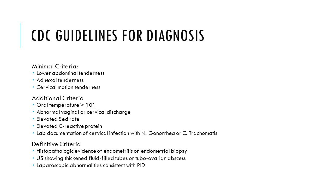 CDC guidelines for diagnosis