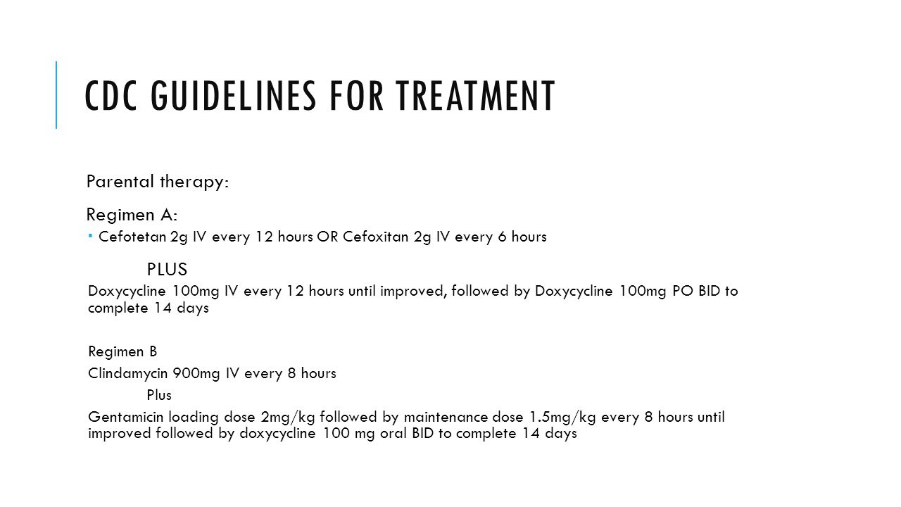 CDC guidelines for treatment