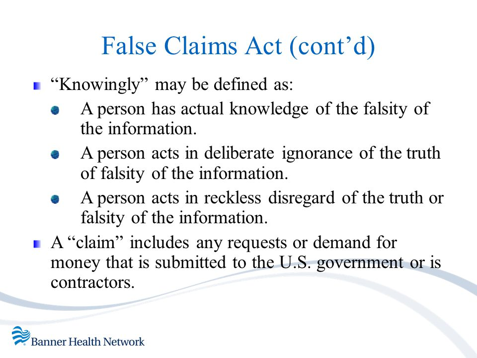False Claims Act (cont'd)