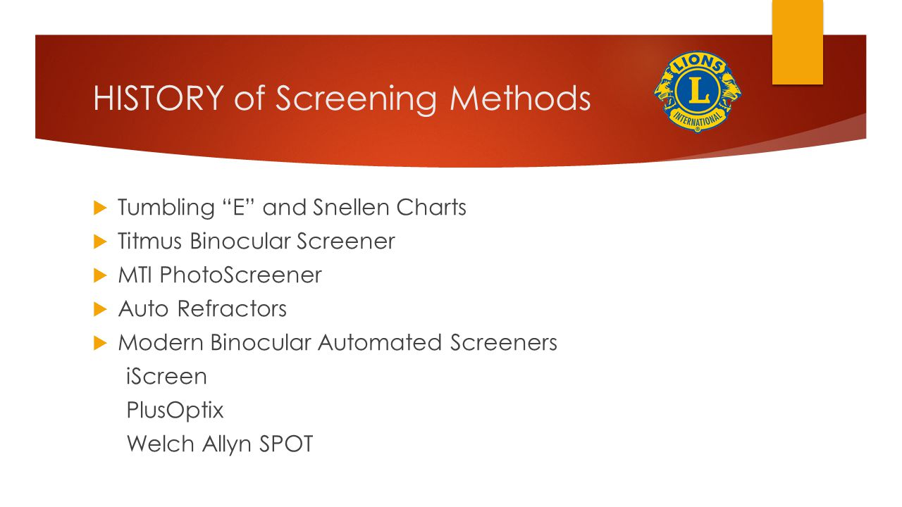 HISTORY of Screening Methods