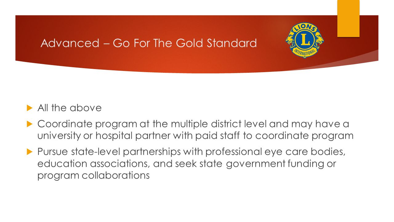 Advanced – Go For The Gold Standard
