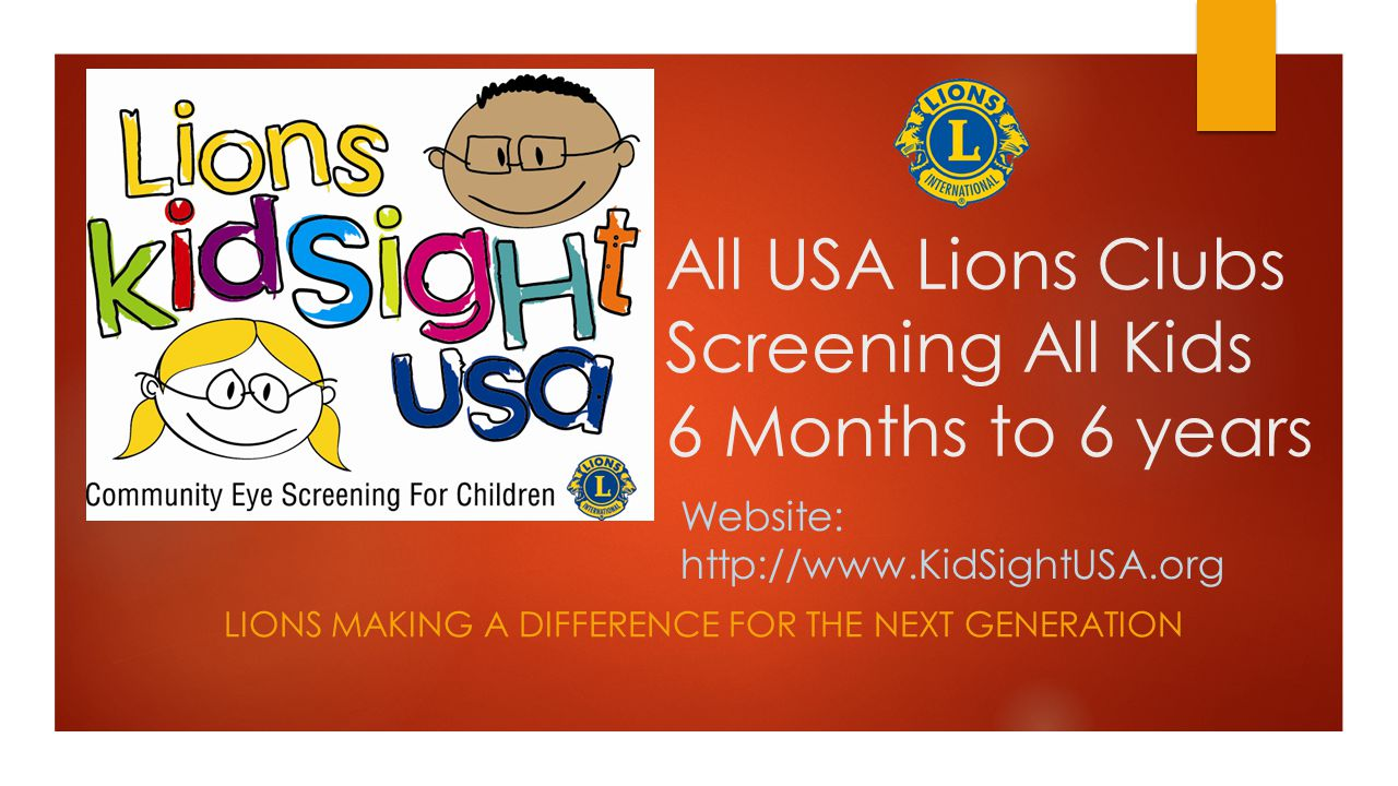 All USA Lions Clubs Screening All Kids 6 Months to 6 years