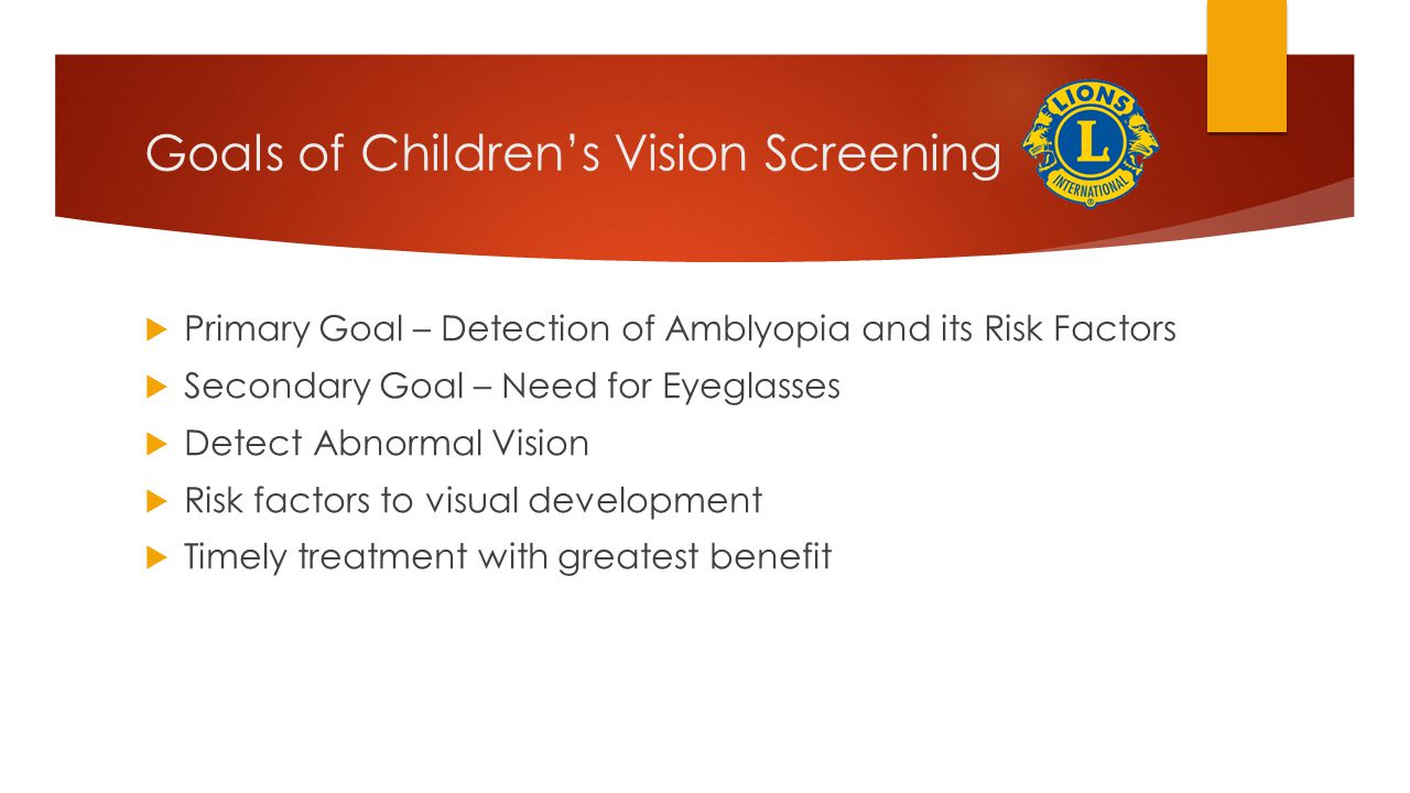 Goals of Children's Vision Screening