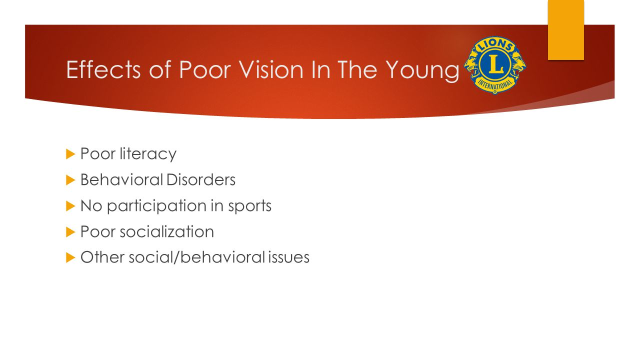 Effects of Poor Vision In The Young