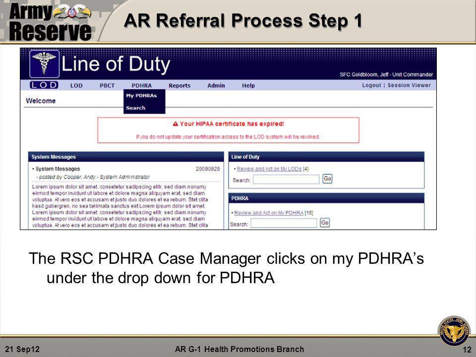 AR Referral Process Step 1