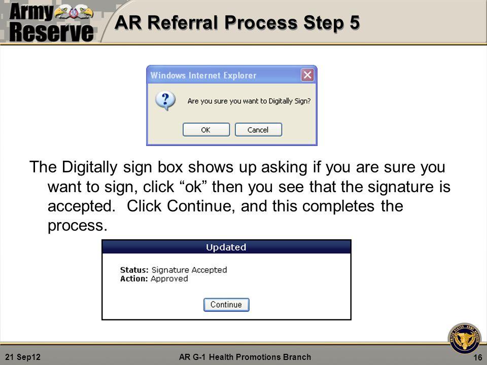 AR Referral Process Step 5