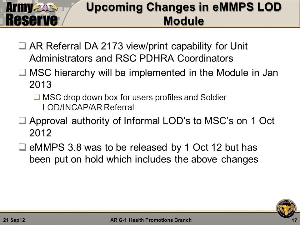 Upcoming Changes in eMMPS LOD Module