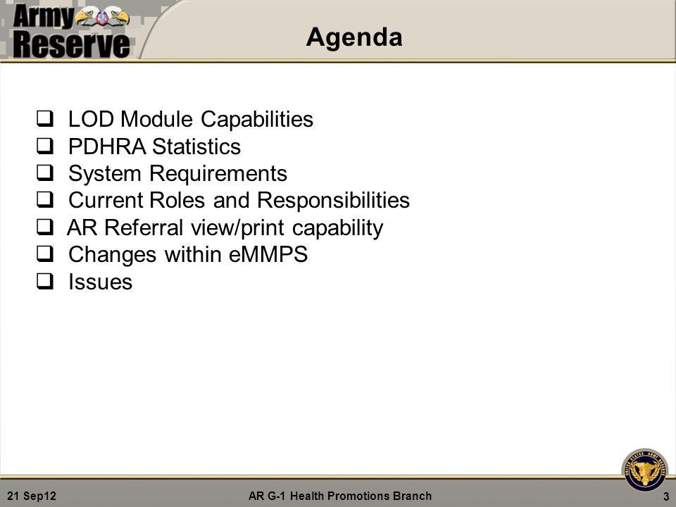 Agenda LOD Module Capabilities PDHRA Statistics System Requirements