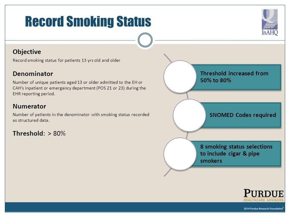 Record Smoking Status Objective Denominator Numerator