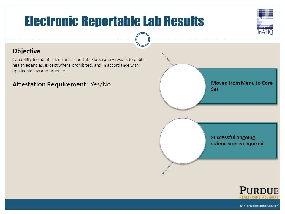 Electronic Reportable Lab Results