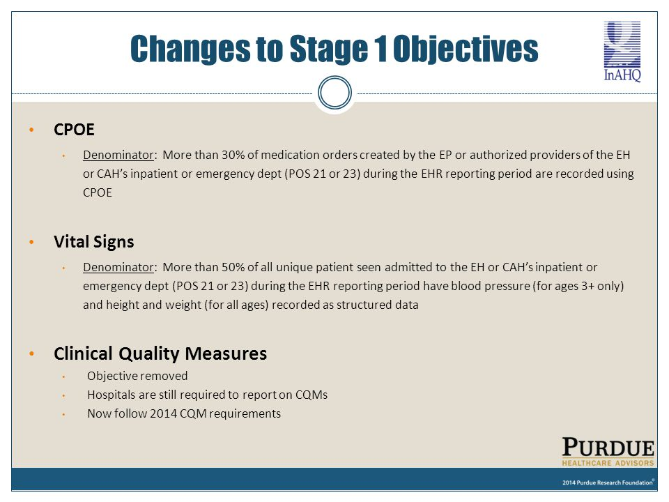 Changes to Stage 1 Objectives