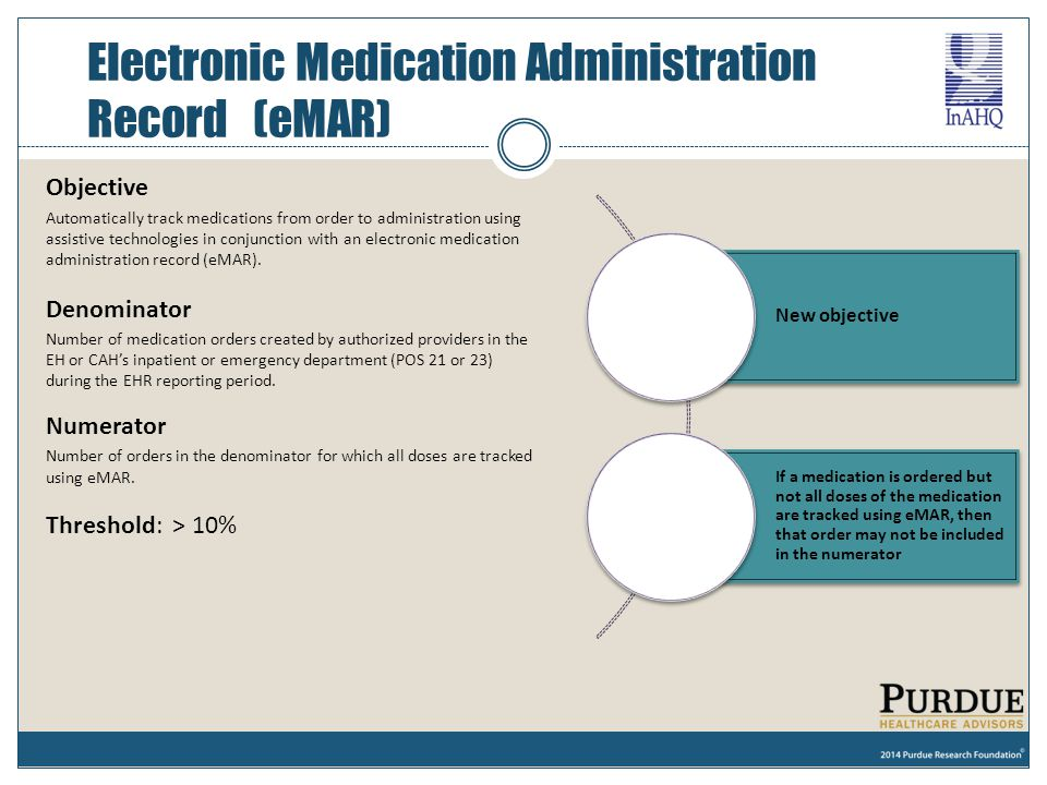 Electronic Medication Administration Record (eMAR)