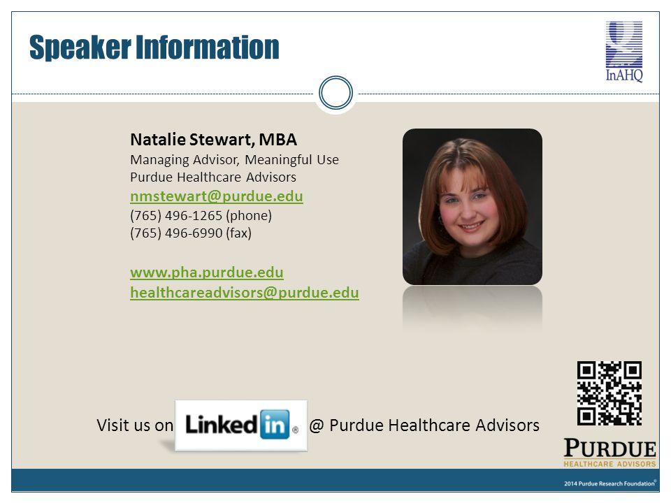 Speaker Information Natalie Stewart, MBA