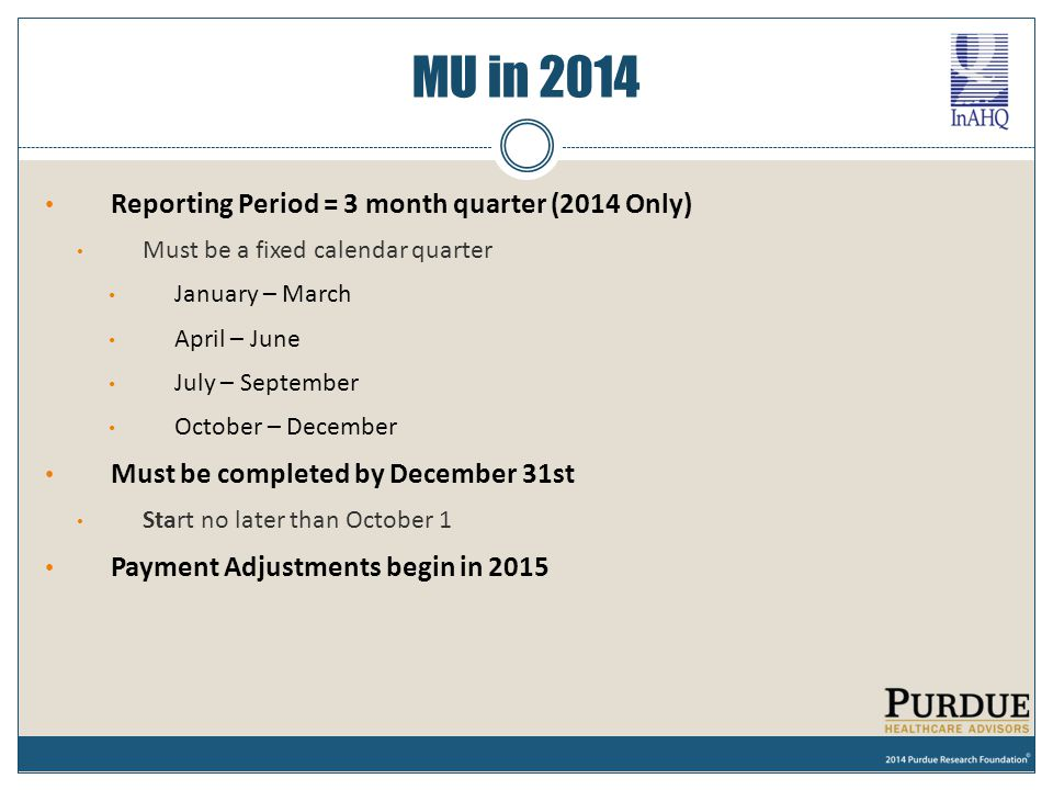 MU in 2014 Reporting Period = 3 month quarter (2014 Only)