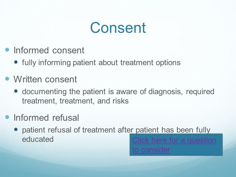 Consent Informed consent Written consent Informed refusal