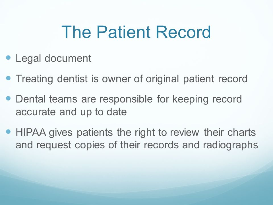 The Patient Record Legal document