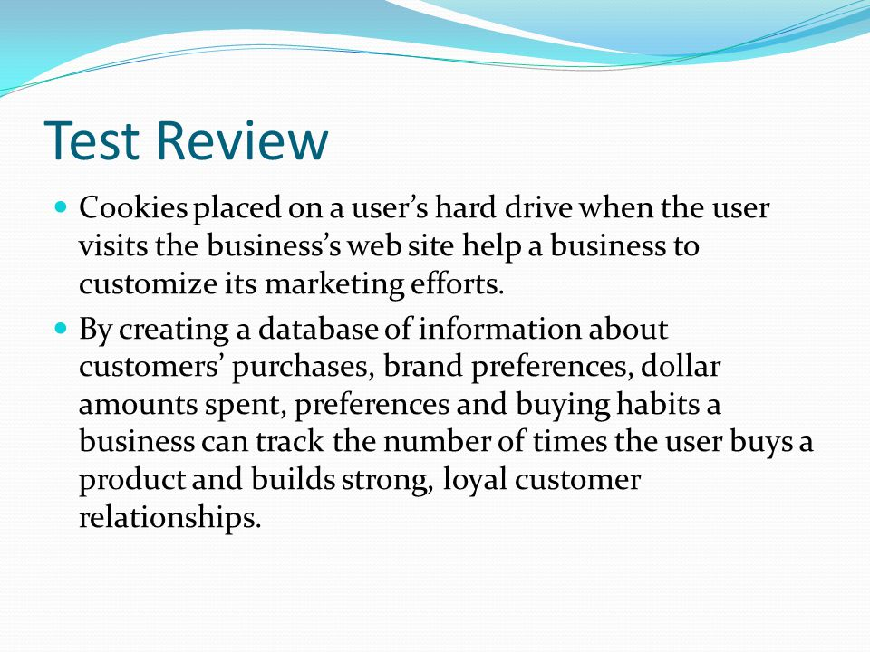 Test Review Cookies placed on a user's hard drive when the user visits the business's web site help a business to customize its marketing efforts.