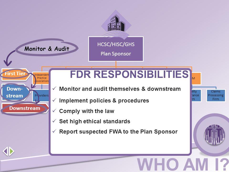 FDR RESPONSIBILITIES HCSC/HISC/GHS Plan Sponsor Monitor & Audit