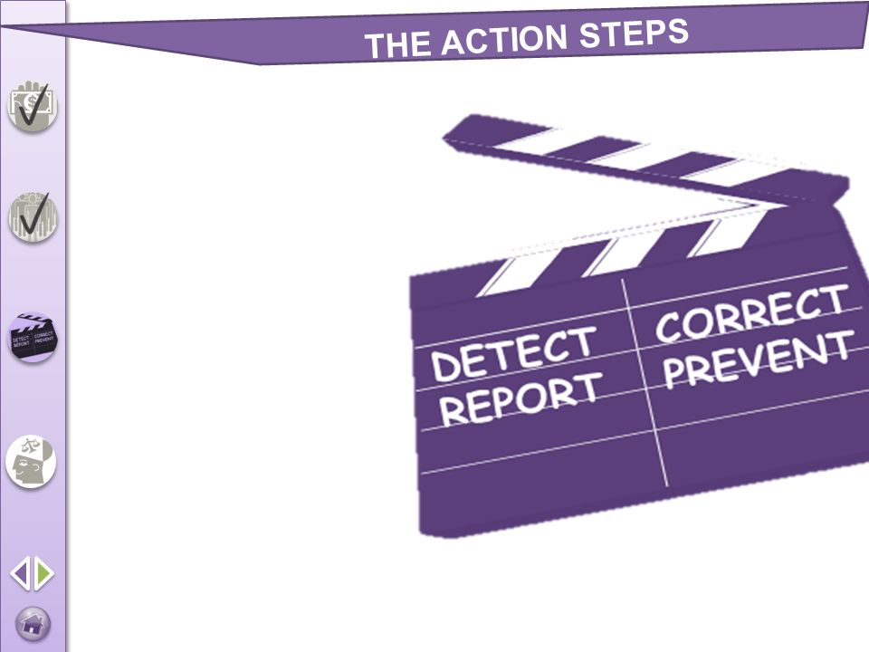 THE ACTION STEPS Detect Correct Prevent Report