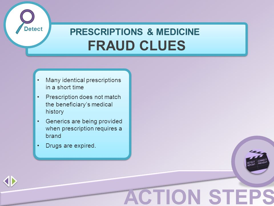 FRAUD CLUES PRESCRIPTIONS & MEDICINE Detect