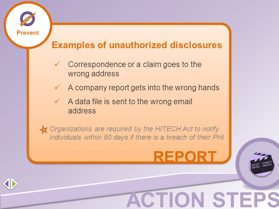 REPORT Examples of unauthorized disclosures