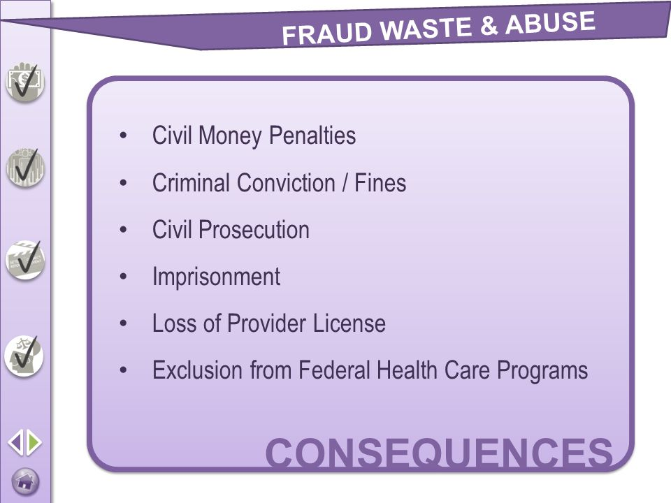 CONSEQUENCES FRAUD WASTE & ABUSE Civil Money Penalties