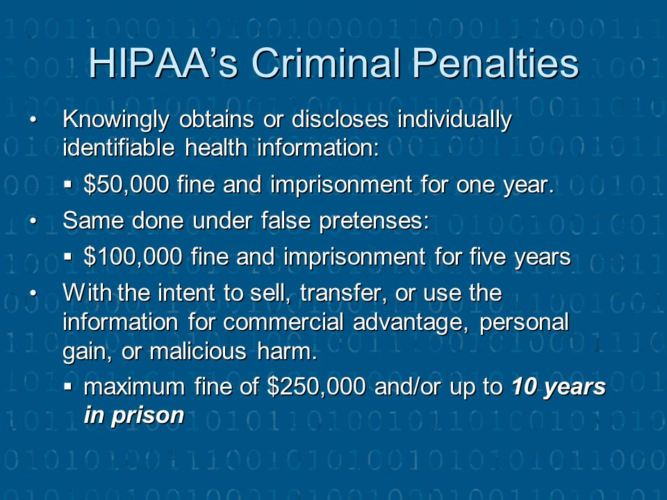 HIPAA's Criminal Penalties