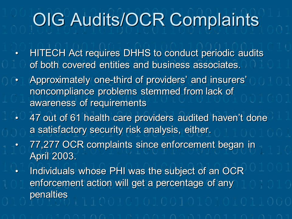 OIG Audits/OCR Complaints