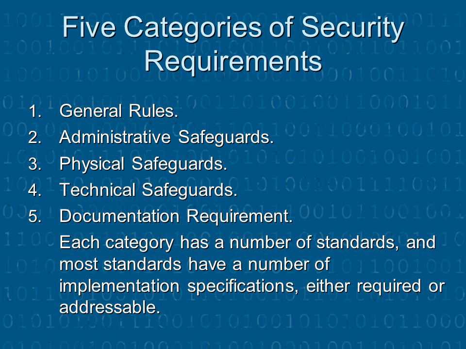 Five Categories of Security Requirements