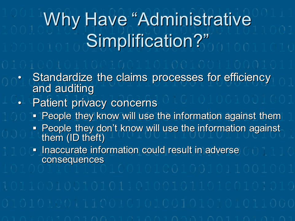 Why Have Administrative Simplification