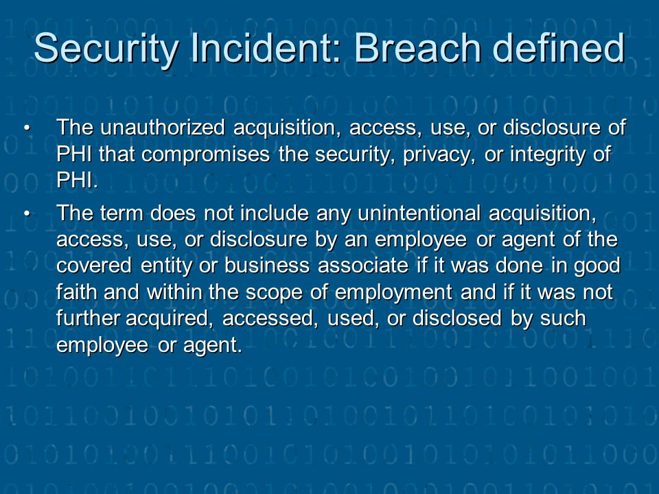 Security Incident: Breach defined