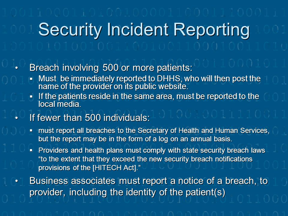 Security Incident Reporting