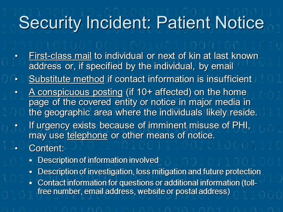 Security Incident: Patient Notice