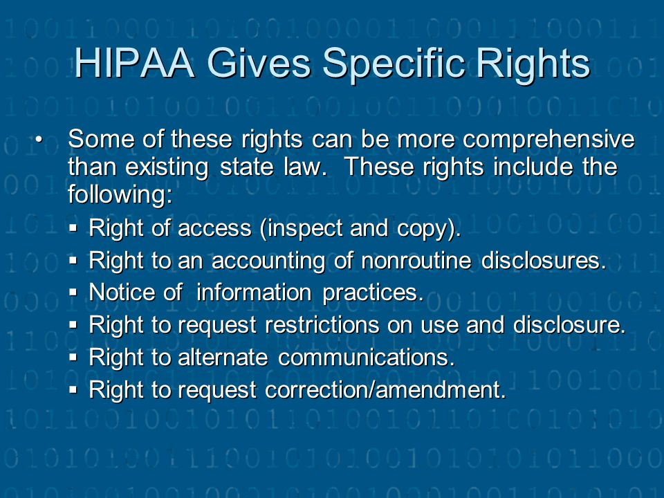 HIPAA Gives Specific Rights