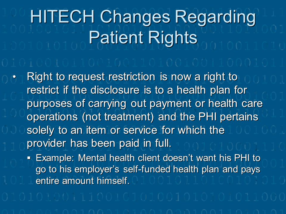 HITECH Changes Regarding Patient Rights