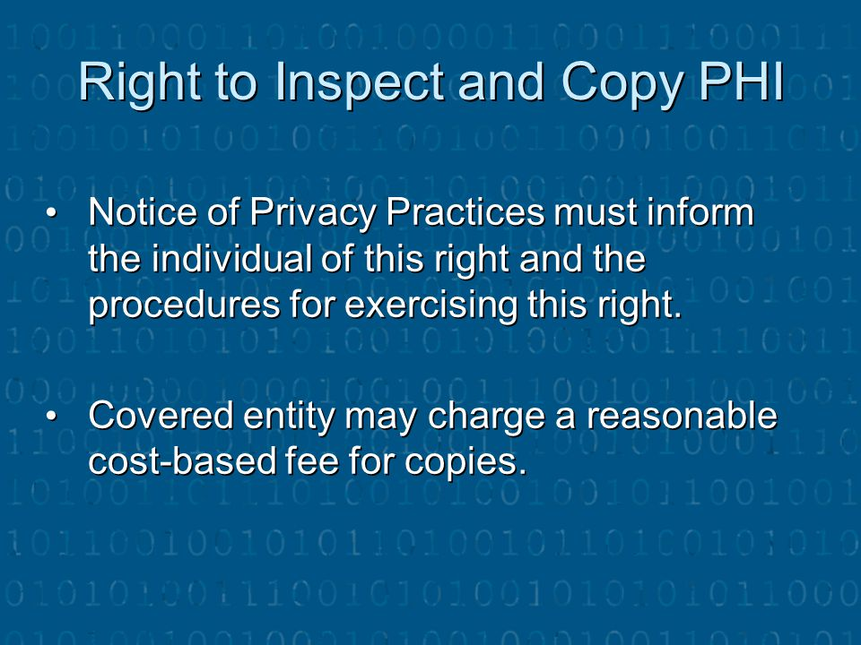 Right to Inspect and Copy PHI