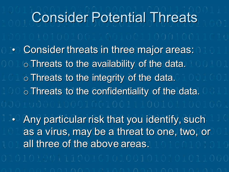 Consider Potential Threats