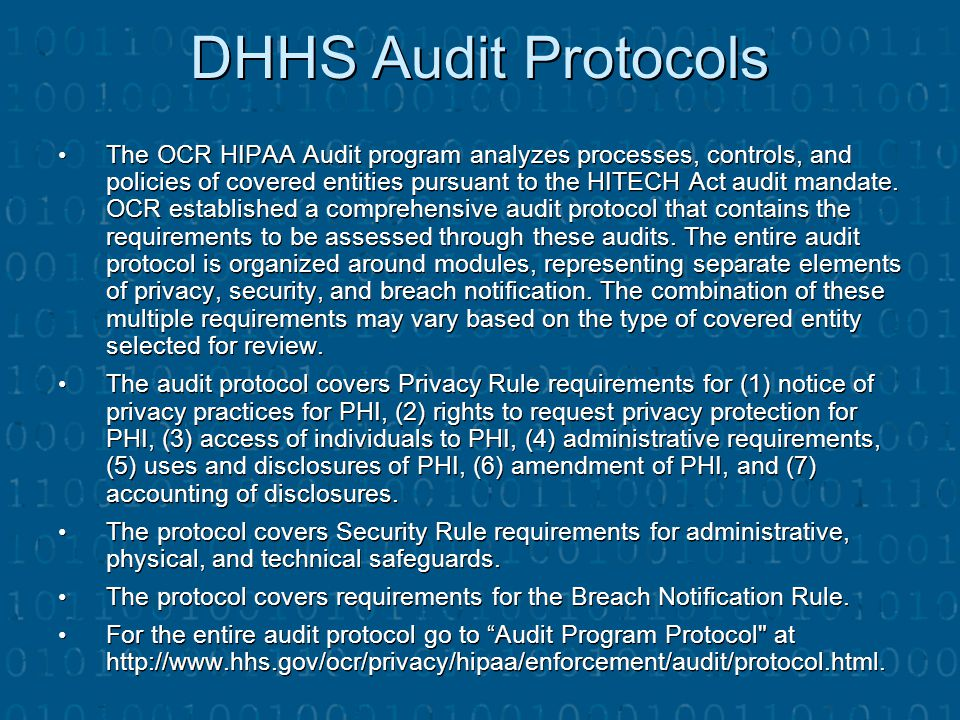 DHHS Audit Protocols