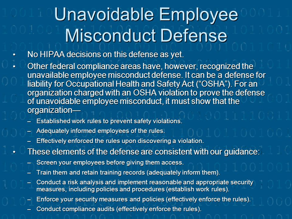 Unavoidable Employee Misconduct Defense