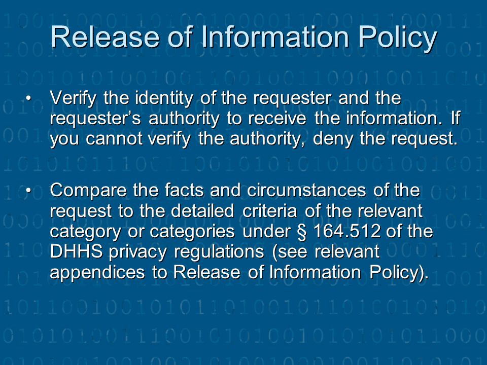 Release of Information Policy