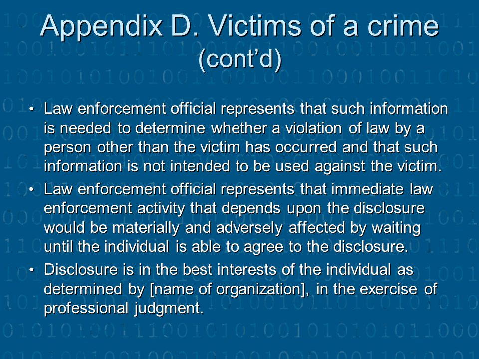 Appendix D. Victims of a crime (cont'd)