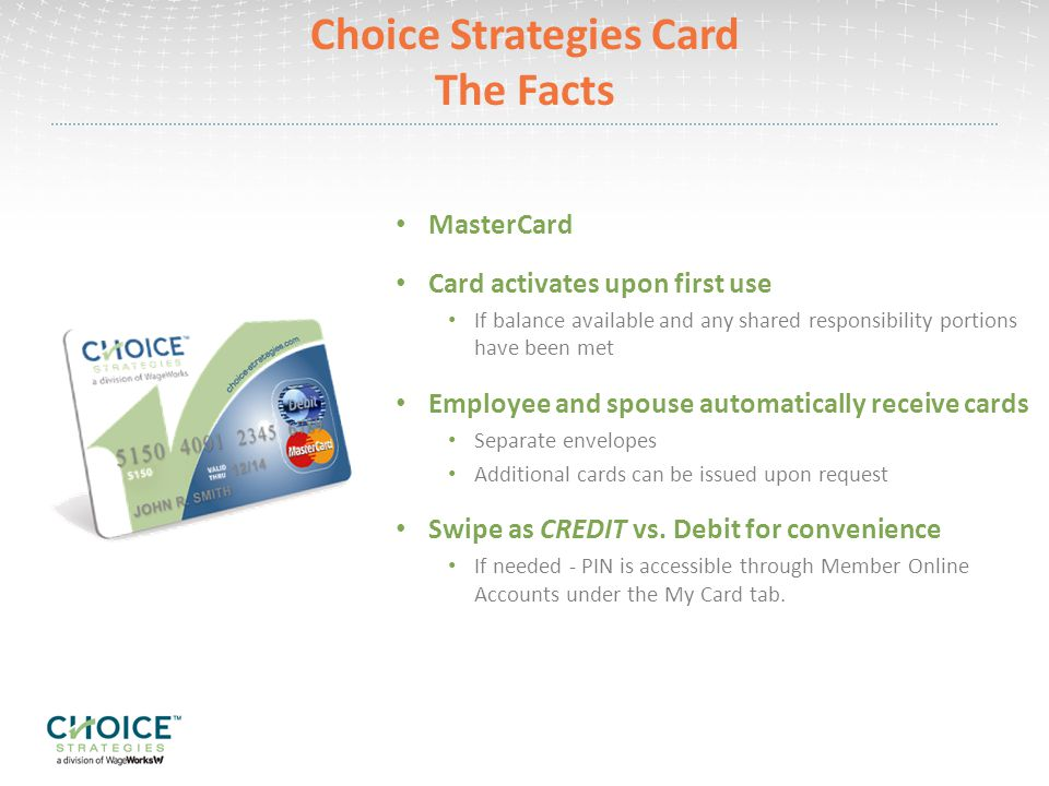 Choice Strategies Card The Facts