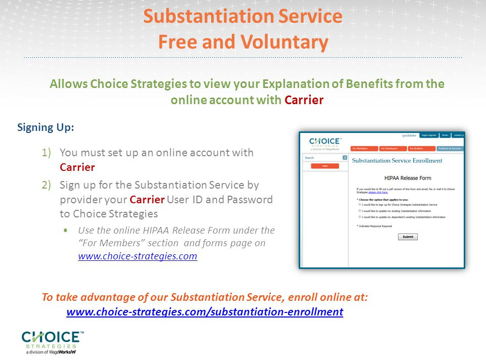 Substantiation Service Free and Voluntary