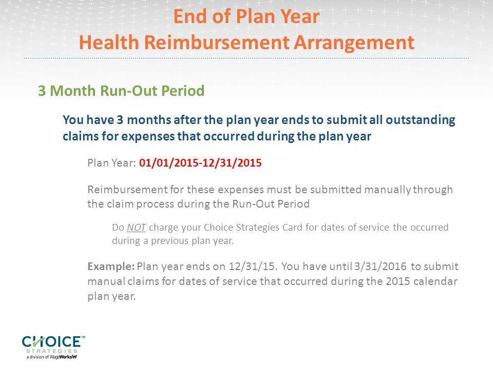 End of Plan Year Health Reimbursement Arrangement
